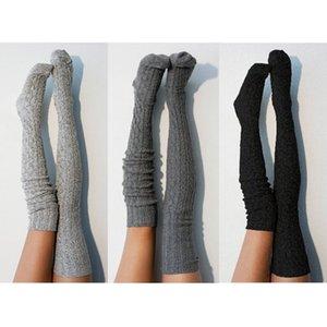 الجوارب النساء الشتاء القطن سميكة الكروشيه كابل متماسكة فوق الركبة طويلة التمهيد الصوف الدافئة الفخذ العليا جوارب جوارب تدفئة الساق الأسود