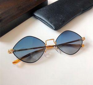 الاتجاه خمر المرأة مصمم النظارات الشمسية الماس الكلب المعادن الرجعية شخصية إطار صغير نظارات أعلى جودة uv حماية تأتي مع القضية