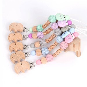 Natural Wooden Baby Pacifier Holders Chain Clips Infant Teether Silicone Teething Beads Cartoon Food Grade Soother Feeding Kids Toys B4646