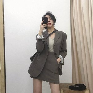 Suits Female Vintage Autumn Notched Collar Plaid Women Blazer Breasted Jacket Casual Pockets Womens Coat Blazers Women's Two Piece Pants