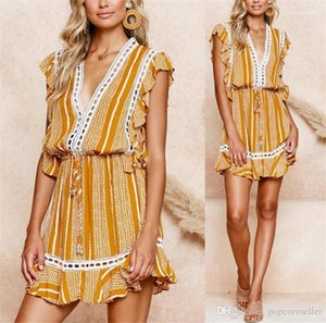 V Neck Dress Designer Sleeveless Lace Panelled Asymmetrical Dress Fashion Casual Womens Apparel Sexy Floral Printed