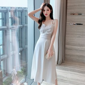 niche suspender French dress 2021 spring and summer new style waist closing temperament 6V1L