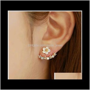 High Quality Anti Allergic Pure Silver Jewelry S 925 Sterling Silver Daisy Flower Front And Back Two Sided Stud Earrings Ear Nail O1Q7 0Xa5X