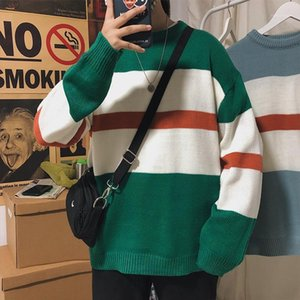 Women's Pullover Striped Oversized Mens Knitted Sweaters Hip Hop Harajuku Korean Casual Black Sweater Men Clothing1 N8O2