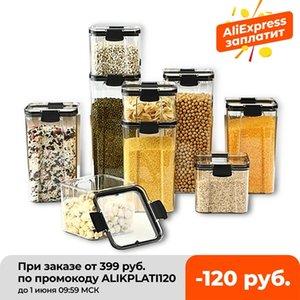 700/1300 / 1800ml Alimentos de almacenamiento de alimentos Cocina de plástico Refrigerador Caja de fideos Tanque Multigrain Transparente Latas Sellado