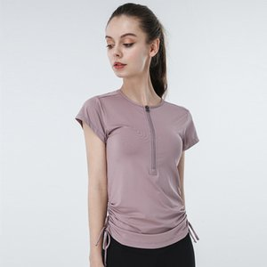 Lulu Round Neck Yoga Half Zipper tracksuits Short Sleeve T-shirt Slim Fit Quick Dry Running Fitness Suit Outdoor Sports Jacket Female