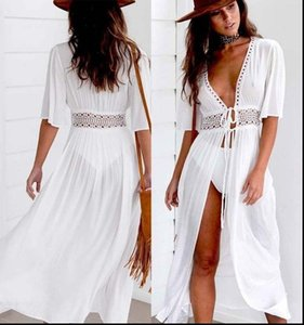 Women Shirts Lace Kimono Blouse Coat Casual Long Cardigan Beach Bikini Cover Up Swimsuit Bathing Suit Black White Womens Clothing