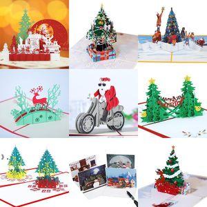 Christmas Gifts 3D Greeting Cards Holiday Handwriting Wishes Card Three-dimensional Cartoon Xmas Trees Elk Snowman Santa Claus OWD10381