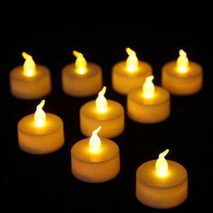 LED Tealight Flicker Battery Candle Plastic Flameless Tea Light Wedding Birthday Party Christmas Halloween Decoration Candle Light BH1904 ZX