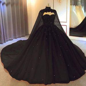 2021 черное мяч платья готические выпускные платья с накидкой накисляют из бисера из бисера тюль принцесса зрелищные платья не белый плюс размер корсет задний брак
