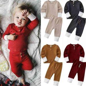 Baby Clothings set Solid Color Stripe pit Long Sleeve Sweatshirt + Pants 2PCS Set Pajamas Kids suits ZYY877