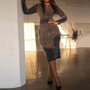 Casual Dresses Back Split Women Sexy Black Dress Party Night Club Wear Long Sleeve Luxury Beading Stretch Ladies Autumn Midi Plus Size