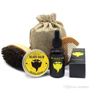 Men Barba Beard Kit 5pcs set Grooming Moisturizing Wax Beard Oil Balm Comb Essence Styling Hair Men Beard Kit Set 20sets