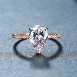 Wedding Rings Trendy Female White Zircon Stone Ring Rose Gold Silver Color Engagement Simple Crystal Water Drop For Women