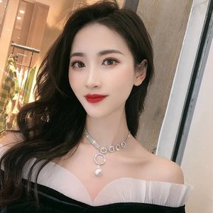 Fashion Diamond Ring Necklaces Clavicle Chain Female European and American Net Red Neck Jewelry Short Necklace Electroplating Process T01