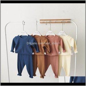 Ins Summer Fall Toddler Boys Girls Pajamas Long Sleeve Blank Tshirts Pants 2Pieces Suits Cotton Quality Kids Clothing Sets Qezpk 6D3Lt