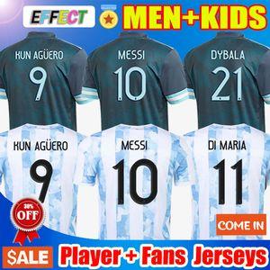 Игрок Болельщики Версия Аргентина Футбол Джерси 20 21 Copa America Home Away Футболки 2021 MESSI DYBALA LO CELSO Национальная сборная MARADONA Мужская + детская форма форма