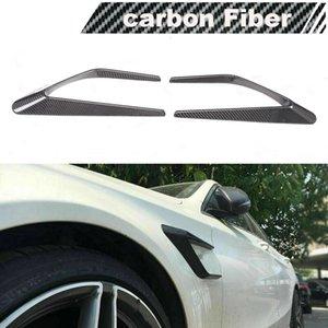 Fit For Benz W205 C63 AMG 15-17 Front Fender Scoop Fin Vent Trims Carbon Fiber