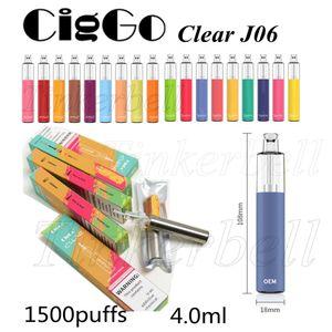 CigGo Clear J06 Disposable Vape E-Cigarettes Device 850mAh Battery 5ml Pods 1500puffs E Cigs 100% Original vs Puff Plus Bang XXL Hyppe Max Flow