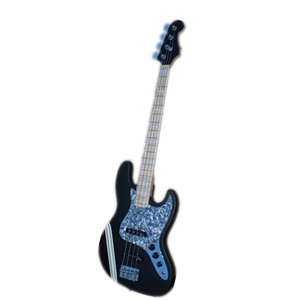 Custom Made 4 Strings jb Electric Bass Guitar,Matte Black Body ,Maple Neck ,Rosewood Fingerboard,Chrome buttons,White stripes,blue shell pearl pickguard