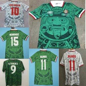 1998 Edição Retro México Jersey Jersey 1998 Camisas de futebol Copa do México México Casa Azul Soccer Shirt Fosco Branco Curto