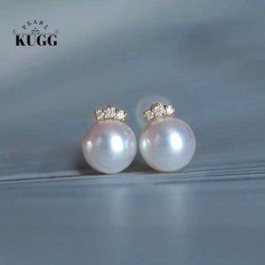 KUGG PEARL 18k Yellow Gold Natural Akoya White Pearl and Diamond Handmade Jewelry Stud Earrings for Women