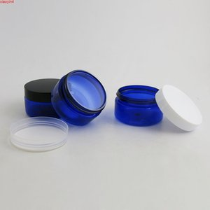 30 x 100g Travel Empty Blue cream jar with Plastic white black clear lids and pet seal 100ml PET Jar Cosmetic Containerhigh qualtity