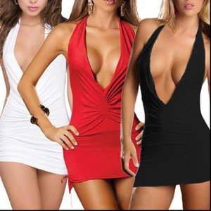 Deep V Womens Dress neck Hollow Out Low cut Breasts Mini For Women Sexy Skinny Bodycon Bandage Sling Party Outfit