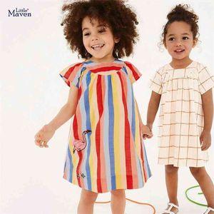 Little maven Girls Long Sleeve Dress Flower Print Vestidos Elegant Peter Pan Collar Baby Infant Cotton 210915