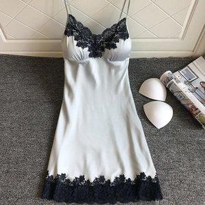 Dantel Derin V Yaka Gecelik Sexy Lingerie Nightgowns Pijama Gece Elbise Kadın Kolsuz Gecelikler Faux İpek Saten Nightshirt