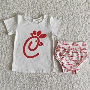 Wholesale Baby Girls Fashion Clothing Short Sleeve Shirt Sets Children Infant Letter Shorts Pants Bummies Kids Boutique Outfit