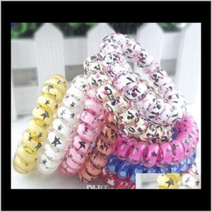 Rubber Bands Jewelry Drop Delivery 2021 100Pcs High Quality Random Color Leopard Star Rings Telephone Wire Cord Tie Girls Elastic Hair Band R