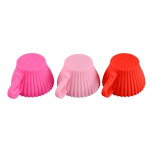 Soft Round Silicone Cake Mold with Handle Muffin Chocolate Cupcake Liner Baking Egg Tart Cup