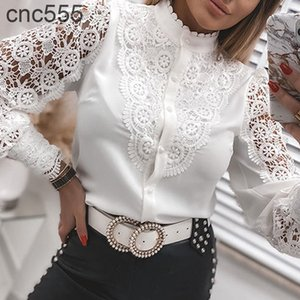 Spring Sexy Patchwork Hollow Out Shirt Fashion White Vintage Long Sleeve Tops Button Mesh Crochet Lace Blouse Women Shirts