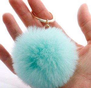 Rabbit Fur Keychain Soft Ball Lovely Gold Metal Key Chains Pom Poms Plush With Pearl Car Keyring Bag jllssUc yy_dhhome