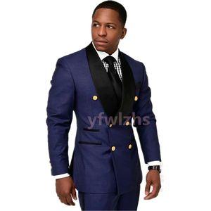 Handsome Double-Breasted Groomsmen Shawl Lapel Groom Tuxedos Men Suits Wedding Prom Dinner Man Blazer(Jacket+Tie+Pants) T339
