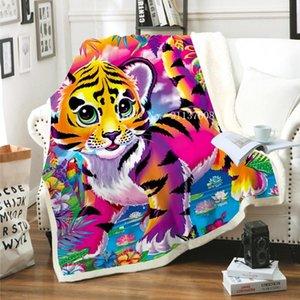 Sheets & Sets Baby Tiger Animal Art Funny 3D Printed Plush Blanket Sherpa Fleece Bedspread Double Warm Bedding Soft Comfortable Sheet