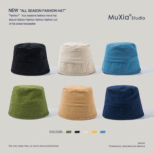 Japanese Minority Solid Color Retro Bucket Hat Fashion Street Men's And Women's Cotton Linen Fisherman Tide Beanies