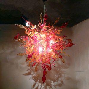 Lámparas de iluminación de vidrio soplado a mano Color rojo y ámbar 36 por 48 pulgadas LED colgante-luces para Villa Chandelier Restaurante Restaurante Sala de estar Dormitorio Decoración del hogar