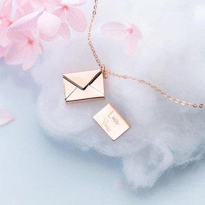 Sunglasses Frames Love Message Envelope Necklace Fashion Women's Jewelry You Secret Pendant Openable DIY Letter Pos Drop