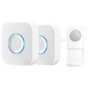 Doorbells Wireless Doorbell Waterproof Remote Smart Volume Adjustable Door Bell Battery 1 Button 2 Receiver 58 Ringtones