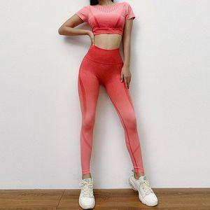 Seamless 2pcs Yoga Set Top+leggings High Waist Hollow Sportswear Fitness Gym Clothes Gradient Yoga Suit Workout Sport Wear wmtNCd xhlove