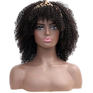 Headband Wigs Kinky Curly Afro For Black Women With Bangs Natural Hair Synthetic Heat Resistant
