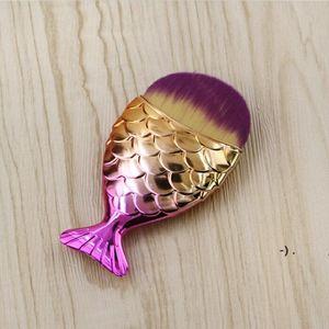 18 Farben 11 cm * 5,5 cm Meerjungfrau Oval Make-up Foundation Pinsel Gold Makeup Set Schönheitskosmetik Blush Pulver Owb6297