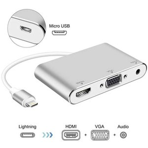 IPhone Docking Station 4 In 1 Lightning To VGA AV Adapter For IPhone12 11 XS Ipad Mobile Phone TV HD Same Cable Converter
