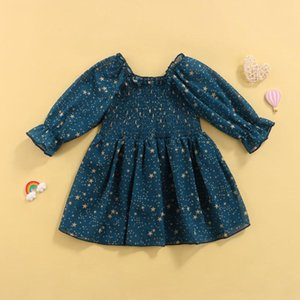Girl's Dresses Spring Infant Baby Sweet Style A-line Dress, Smocked Star Print Long Sleeve Round Collar For Girls, 3 Months-3 Years