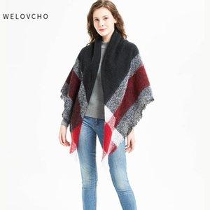 European Loop Yarn Large Plaid Scarf High Quality Square Lady Thickening Shawl Winter Women's Scarves Girls Bandanas