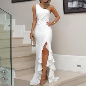 Sexy Off Shoulder Party Dress Womens One Shoulder Ruched Ruffle Formal Evening Dress Slim Maxi Dresses 2020 New Arrivarl vestido