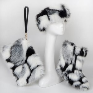 wholesale custom long fur fluffy real colorful purse and fur boots for women