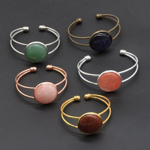 10pcs Different Handmade Gemstone Bangles Round Agate Quazt Stone Opening Silver Gold Copper Bracelets for Women Jewelry Love Wish Gift